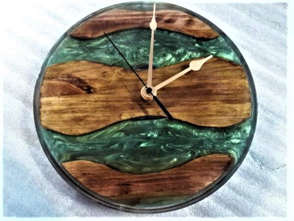 epoxy resin river wall clock image